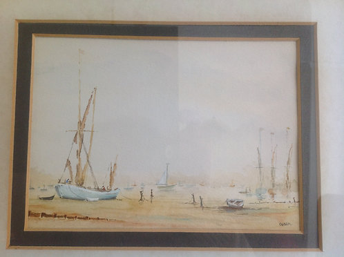 """Barge at Harbour "" Watercolour signed Debra"
