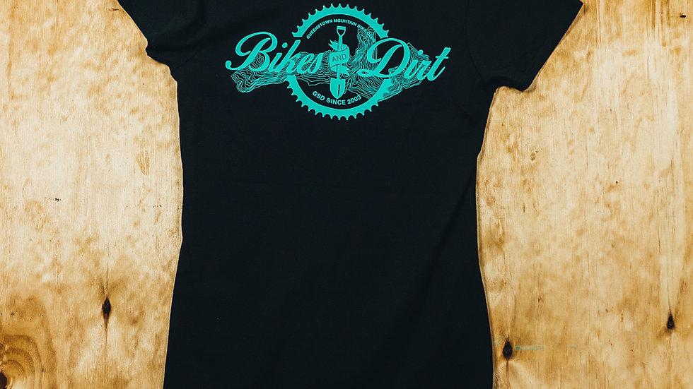Women's Black/Aqua Bikes & Dirt T-shirt
