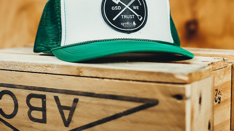 "In GSD We Trust""  Green Trucker Cap"