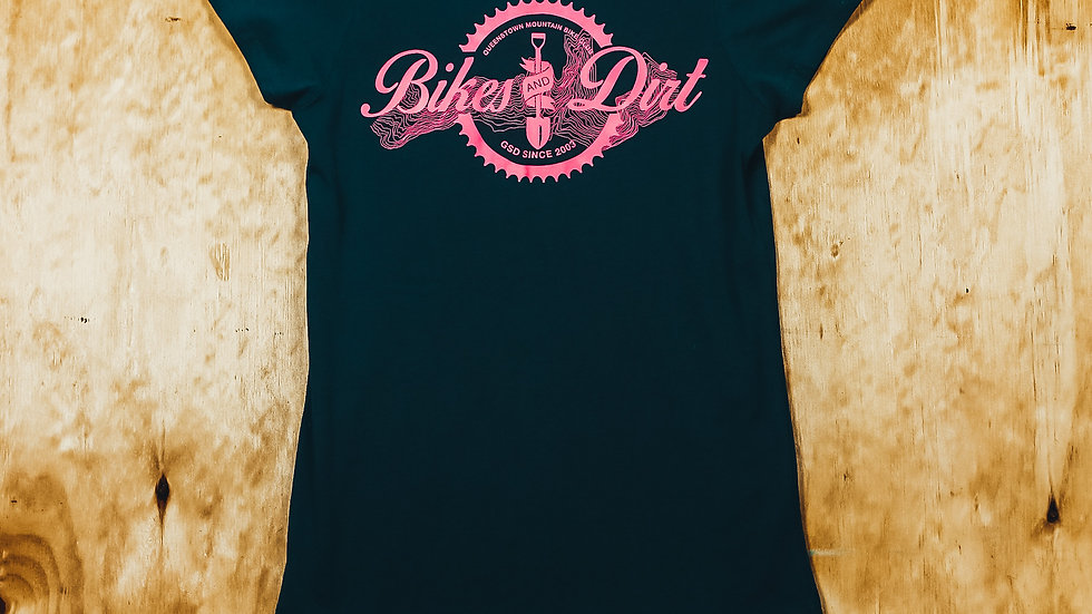 Women's Marine/Pink Bikes & Dirt T-shirt