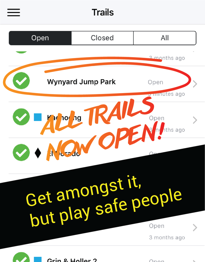 All trails are now OPEN in Level 2