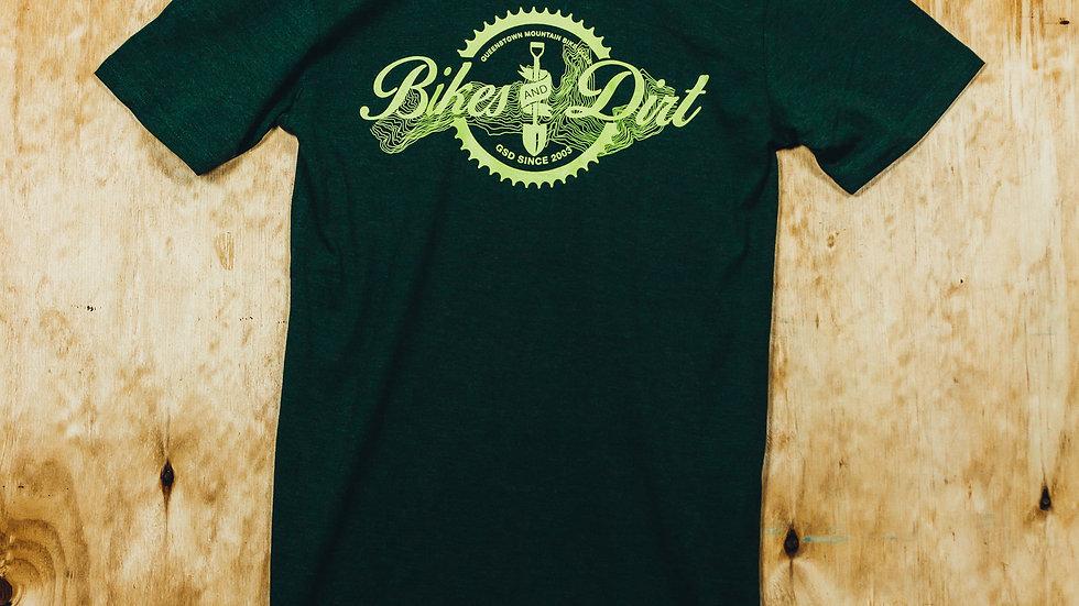 Mens Forest Green Bikes & Dirt T-Shirt
