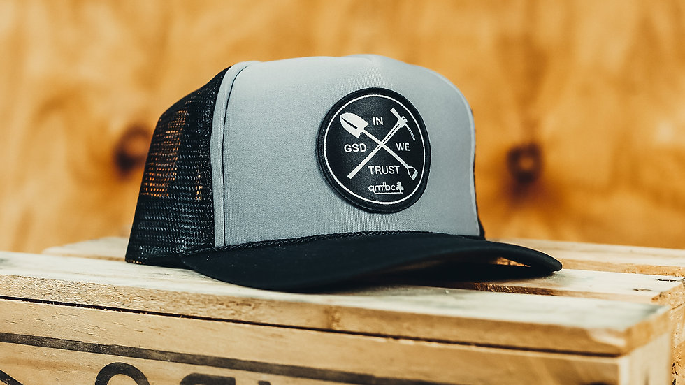 """In GSD We Trust""  Grey/Black Trucker Cap"