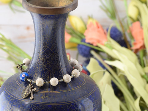 Rosary Bracelet, Ivory Riverstone and Blue Lampwork