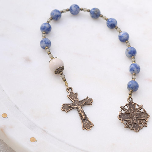 Our Lady of Lourdes Walking Rosary in Blue Sodalite