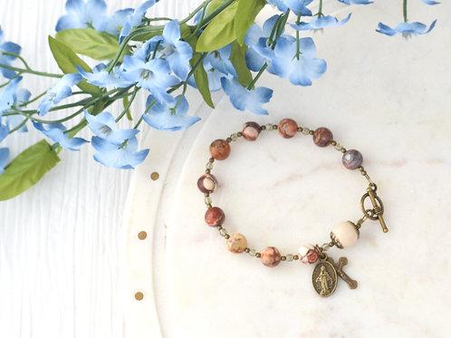 Rosary Bracelet, Bird's Eye Rhyolite