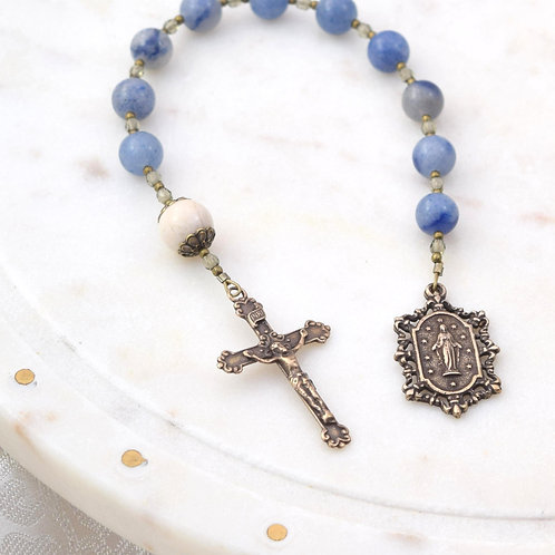 Miraculous Medal Walking Rosary in Blue Aventurine