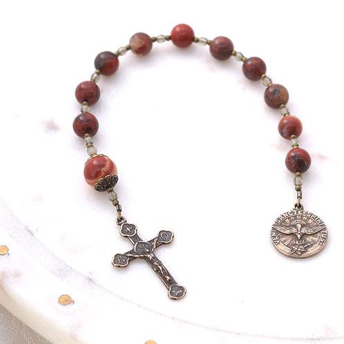 Holy Spirit Walking Rosary in Red Snowflake Jasper