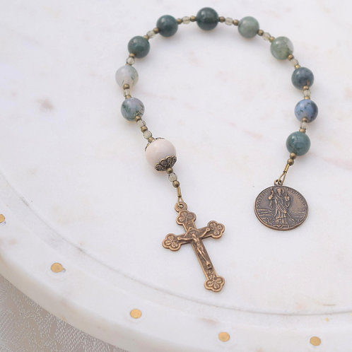 St. Patrick Walking Rosary in Moss Agate