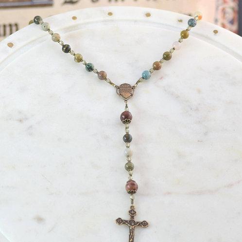 """""""Sacred Heart"""" Rosary in Ocean Jasper"""
