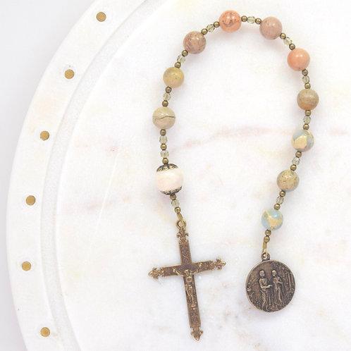 Holy Marriage Walking Rosary in Aqua Terra Jasper