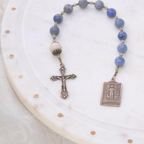 St. Agnes Walking Rosary in Blue Aventurine