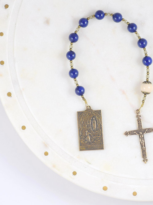 Immaculate Conception Walking Rosary in Snowflake Lapis