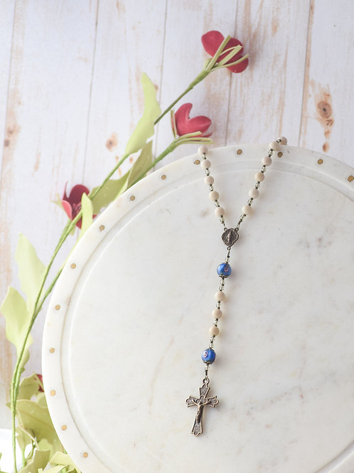 """""""Miraculous Medal"""" Rosary in Ivory Riverstone and Blue Lampwork"""