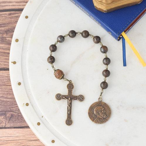 St. Joseph Walking Rosary/Bronzite Jasper