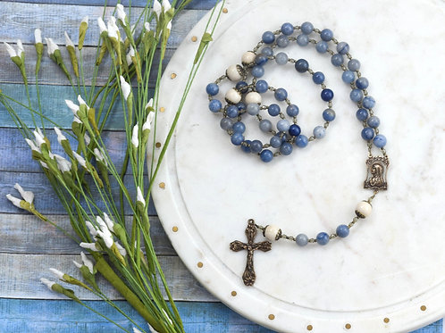 """Our Lady of the Lillies"" LARGE Rosary in Blue Aventurine"