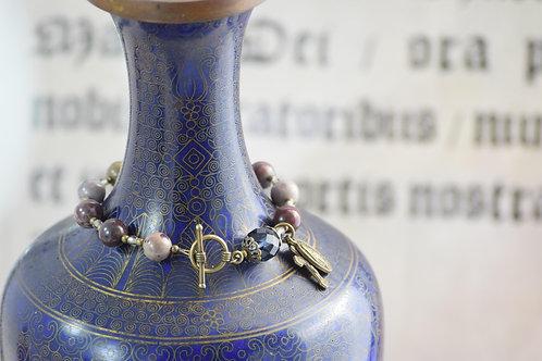 Rosary Bracelet, Fantasy Jasper and Blue Crystal