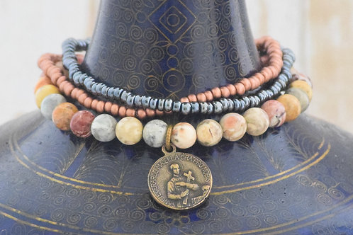 St. Gerard/Our Lady of Good Counsel Stretch Bracelet in Eye Jasper