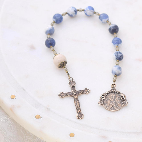 St.Theresa of Calcutta Walking Rosary in Blue Sodalite