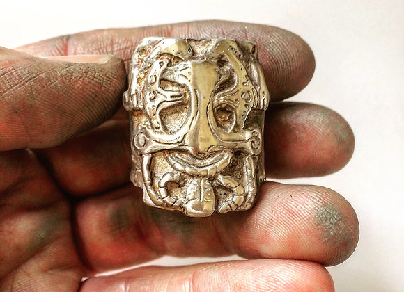 Mens Ring , Large Silver Viking ring front view by LUGDUN ARTISANS