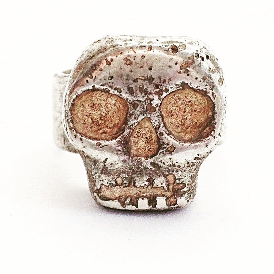 Mens & Womens Heavy Sterling Silver Skull Ring. Biker Rocker Ring. LUGDUN ARTISANS. USA Handcrafted
