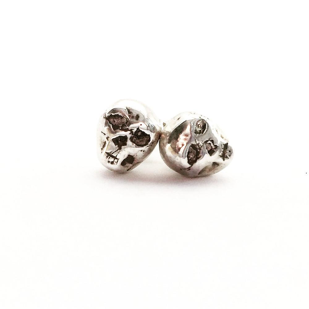 Women's Silver Skull Earrings. Biker, Rocker Jewelry