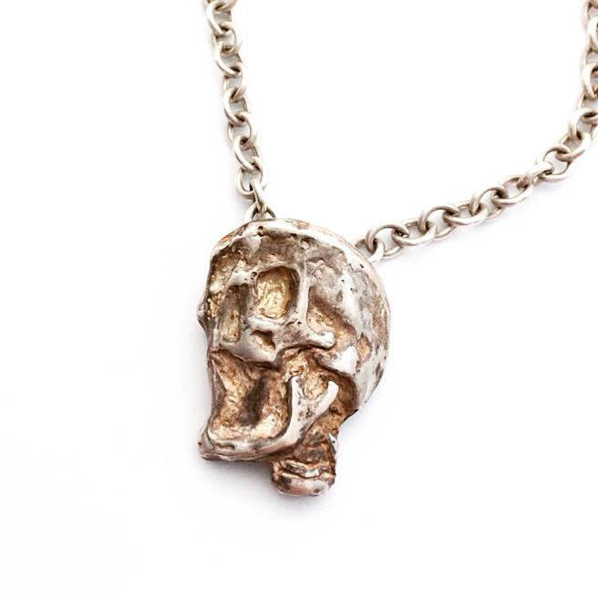 Mens & Womens Huge Silver Skull Necklace. Biker, Rocker Jewelry