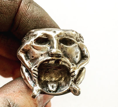 Mens Silver Statement Ring - Heavy Biker