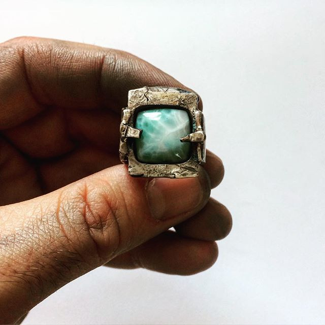 Mens rustic larimar ring. Handcrafted designer rings for men and women made in the USA. Sterling silver biker rocker rebel jewelry for men.