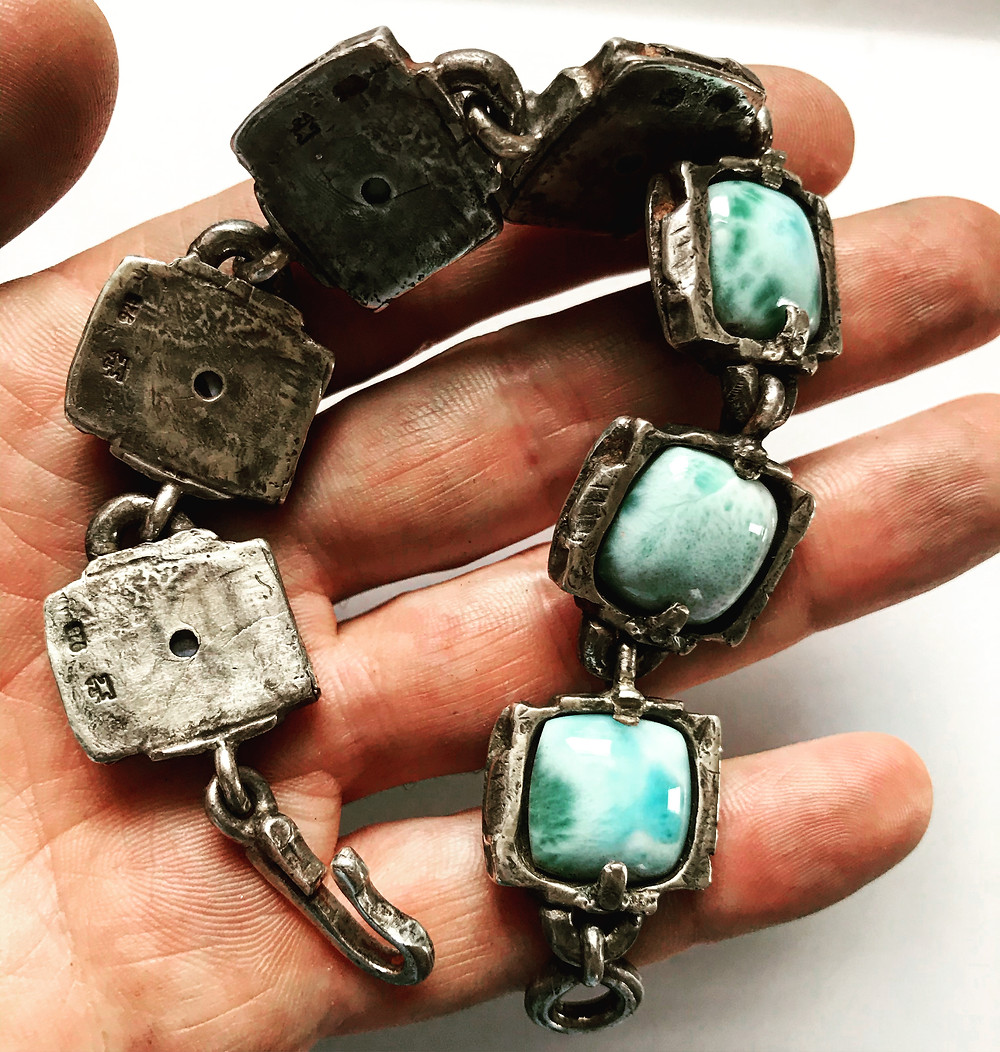 Mens large silver Larimar Bracelet. Designer rocker rebel jewelry made in the USA by LUGDUN ARTISANS . www.LUGDUN.com