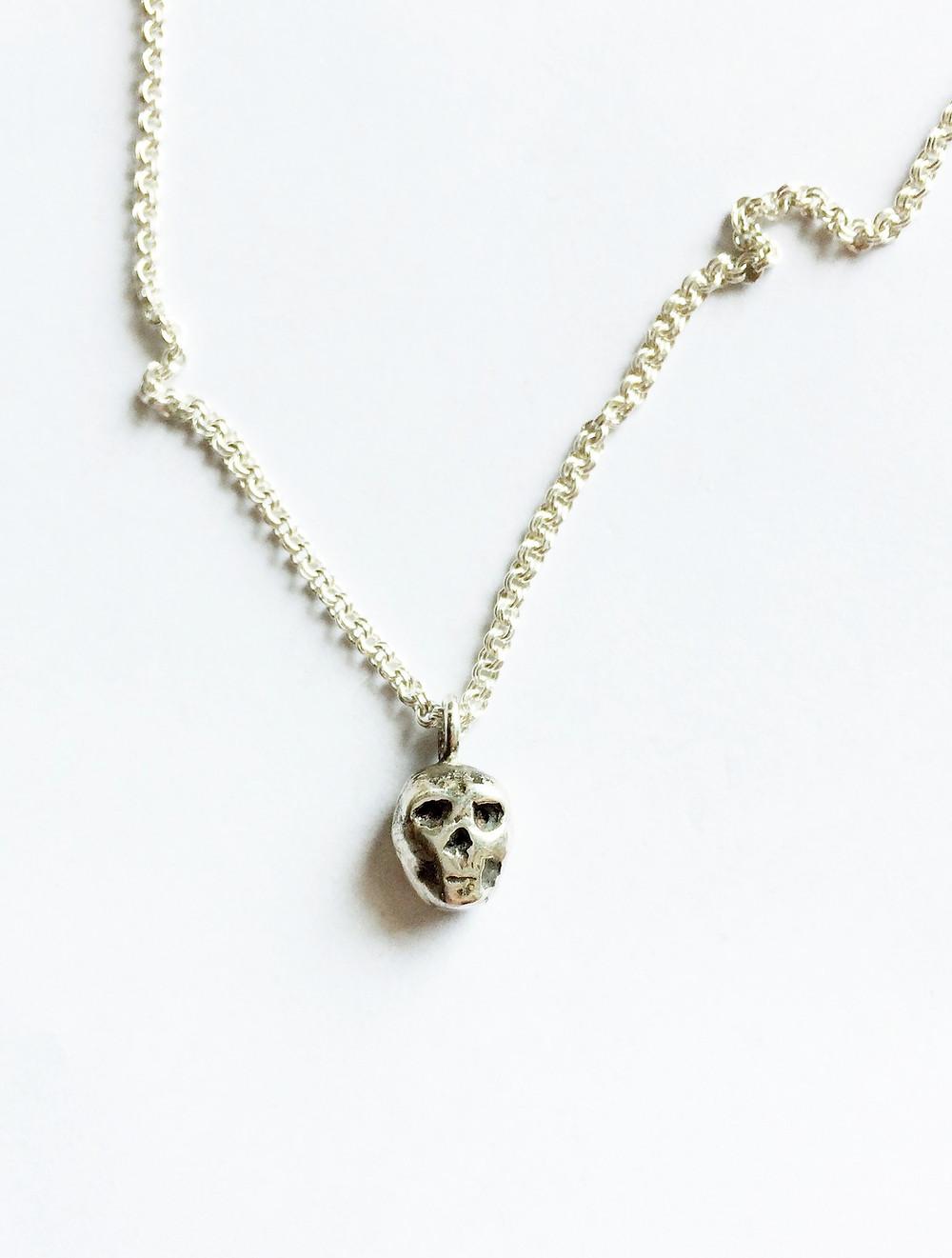 Womens Skull Necklace. Biker, Rocker Jewelry