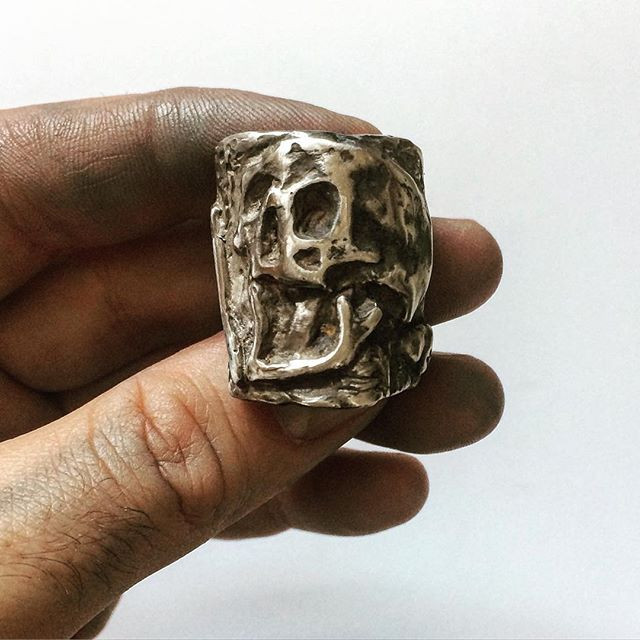 Mens large Skull ring handcrafted in the USA by LUGDUN ARTISANS. www.LUGDUN.com