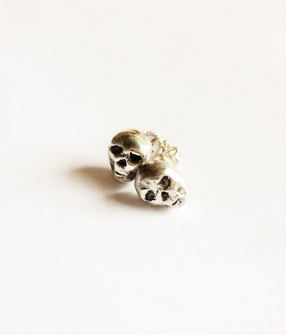 Women's Sterling Silver Skull Earrings - LUGDUN ARTISANS