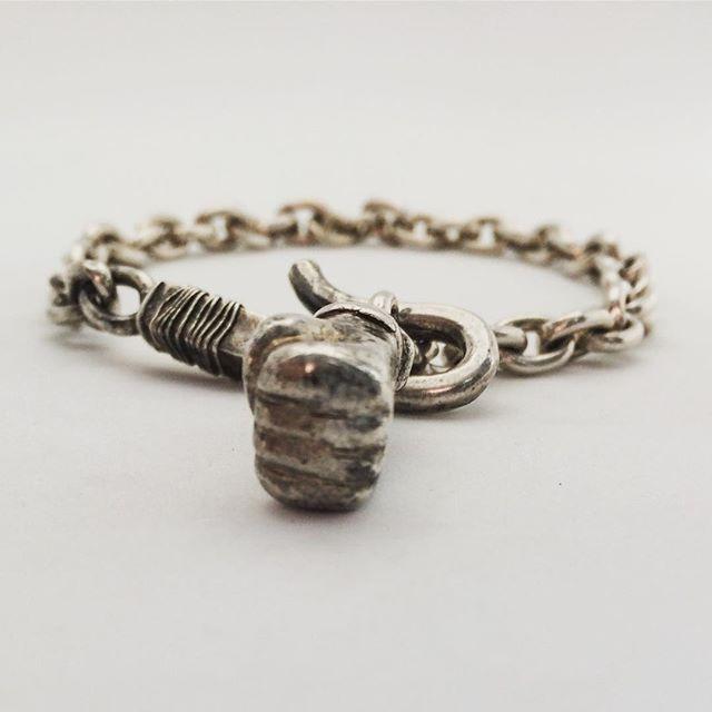 Men's & Women's Sterling Silver Chain Link Fist Bracelet. Biker Rocker Rebel Elite Jewelry by LUGDUN ARTISANS www.LUGDUN.com