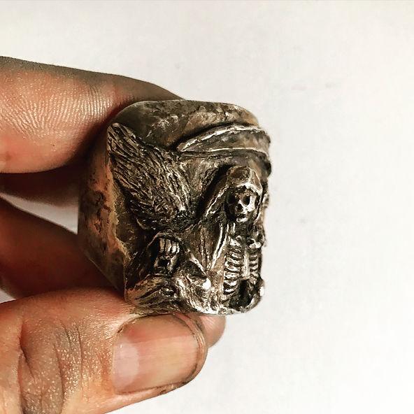 Death Reaper Ring - Mens Heavy silver sk