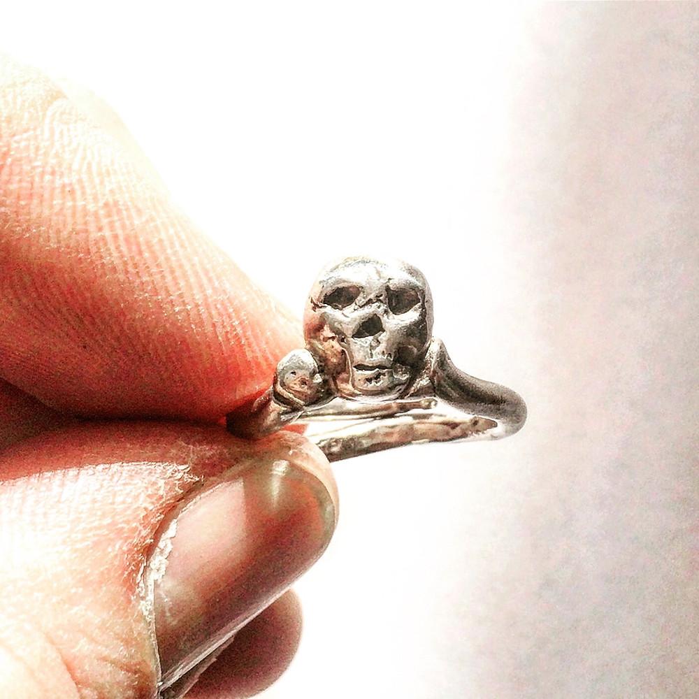 Adjustable Silver Skull Ring for Men, Women & Kids