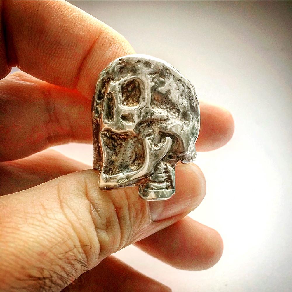 Men's Heavy Silver Skull Ring. Biker Rocker Ring