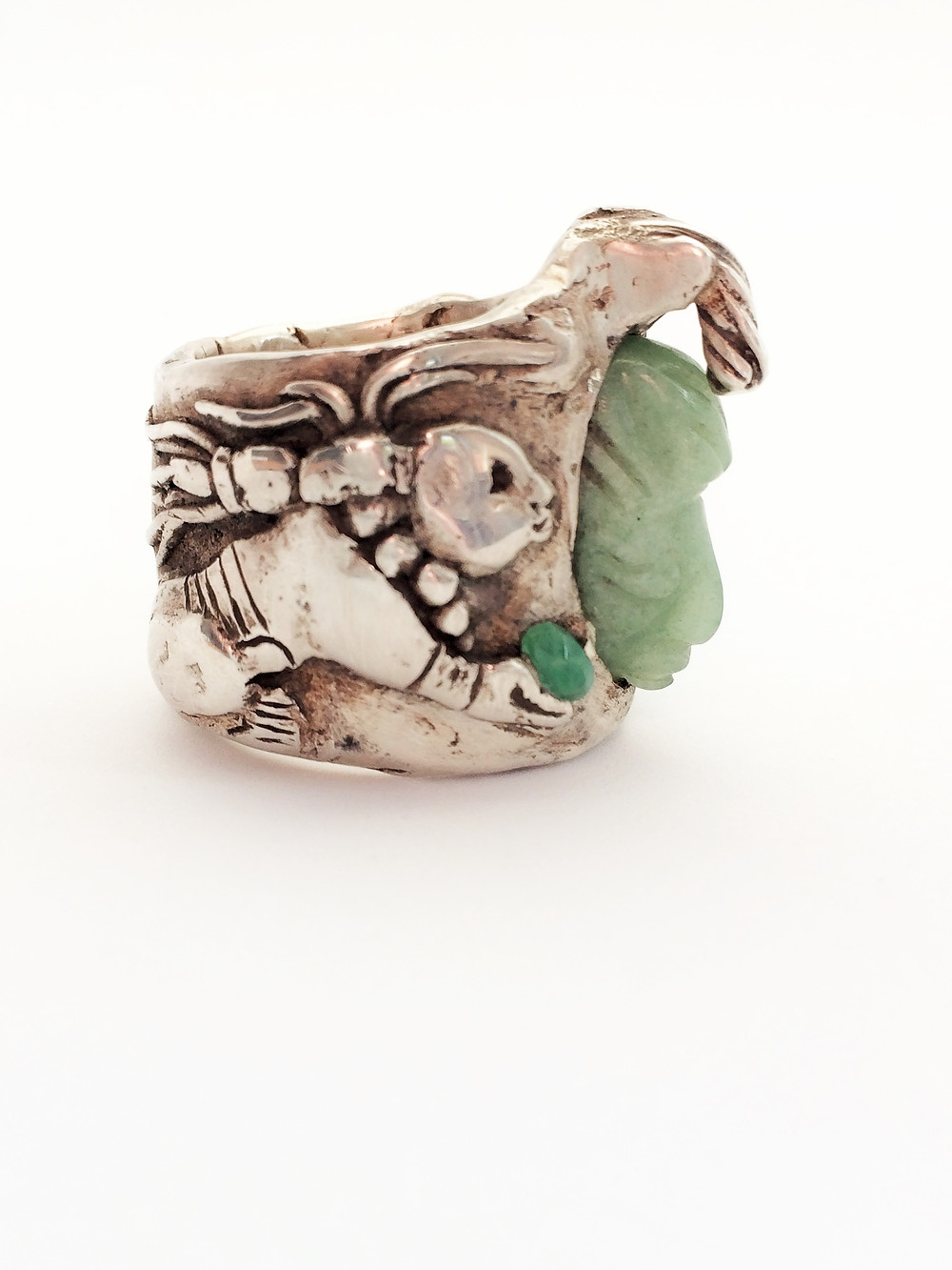 Sterling Silver Mayan Ring with Jade and Emeralds