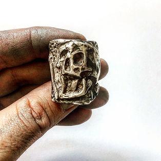 Large Sterling Silver Skull Ring - Mens Biker Rocker Rebel Jewelry - Death Skull Ring -  L