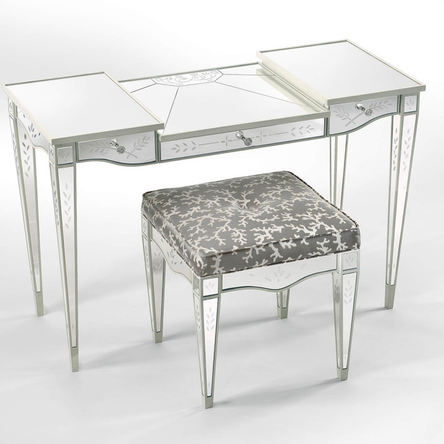 Lewiston Suite - Mirrored Vanity and Stool