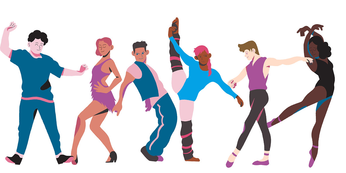 Graphic of 6 different dancers doing different styles of dance.