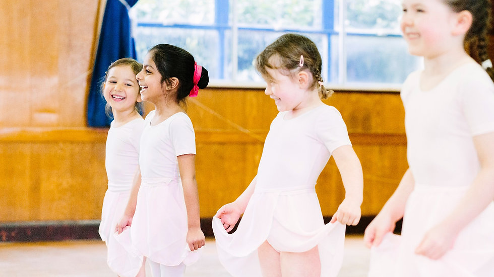 Four happy children in a Theative ballet class in Streatham. They're laughing, smiling & having fun.