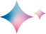 Theative emblem. One larger and one smaller 4 pointed star, gradient colours of pink blue and purple