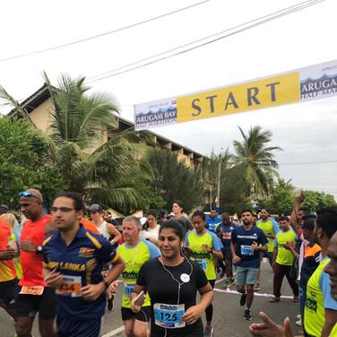 Chamathka Ratnayake runs a 10k half marathon in Arugambay to raise funds for the SSP