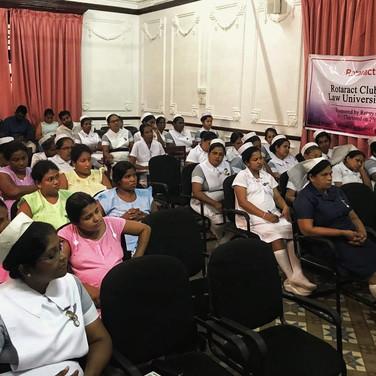 Savindi discusses post-partum depression at a maternity health hospital.