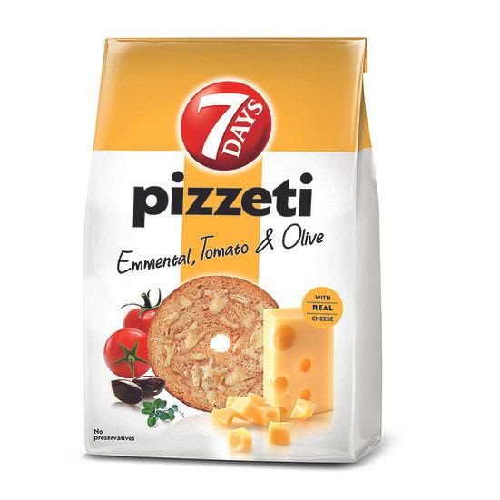 7 Days Pizzeti, paine prajita cu gust de branza, rosii si masline 80 g