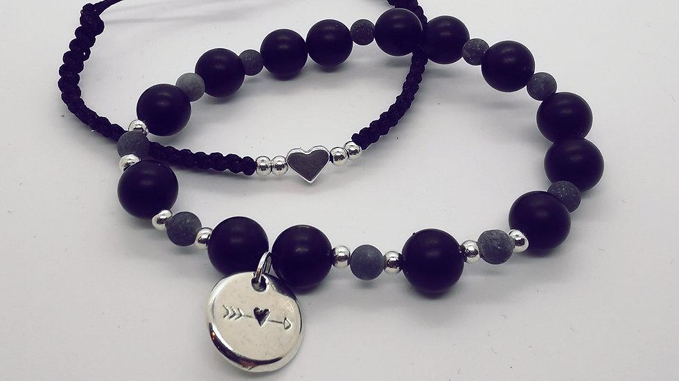 Armbandset Heart black