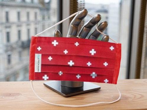 Maske Schweizer Kreuz rot mit Einfassband rot