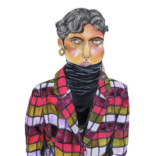 Woman in the checkered jacket