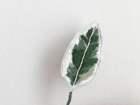 Geborduurde Ficus Elastica Tineke